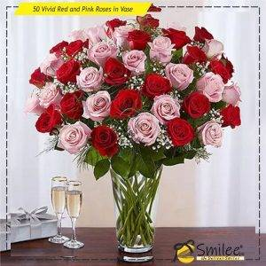50 vivid red and pink roses in vase
