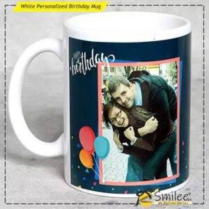 white personalized birthday mug